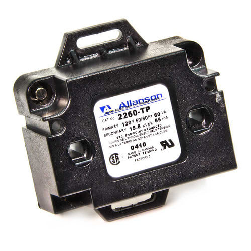 ALLANSON 2260-TP 6kV Electronic Industrial Gas Ignitor (Mounting Tabs w/ Primary Plug Set with Pigtails), 120V