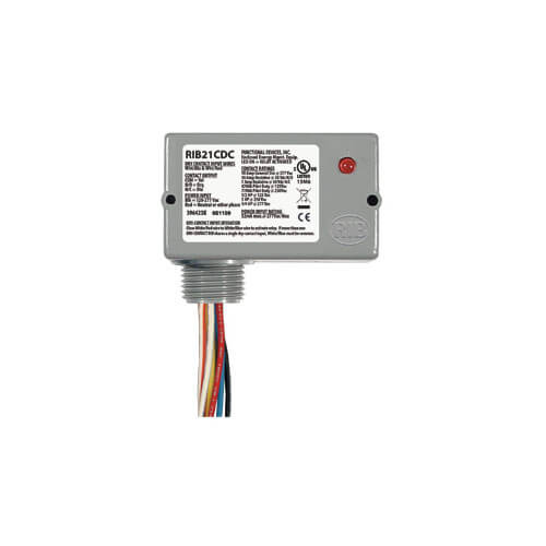 Functional Devices RIB21CDC Enclosed Pilot Relay, 10 Amp, SPDT, 1/2 HP, 120-277 Vac Power Input