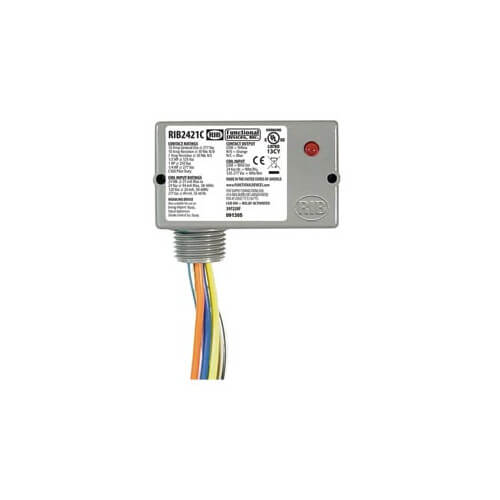 Functional Devices RIBH1C Enclosed Pilot Relay, 10 Amp, SPDT, 1/3 HP, 10-30 Vac/DC/208-277 Vac Coil